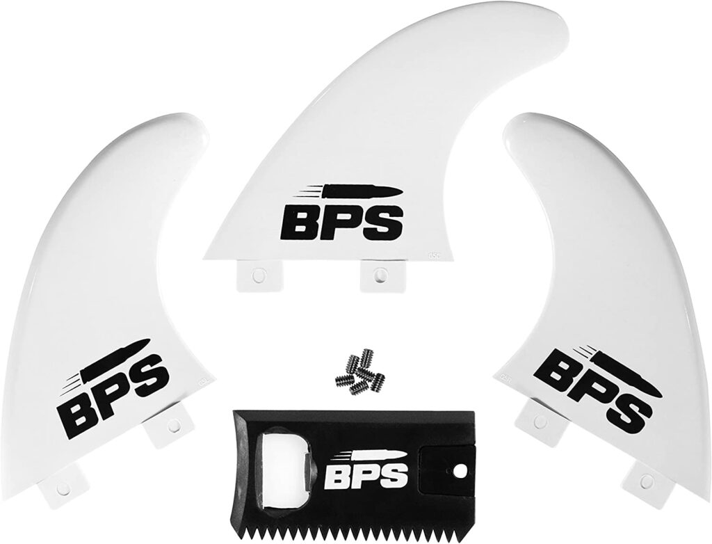BPS Fiberglass Reinforced Surfboard Fins (3) + screws and Wax comb